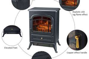 HomCom Free Standing Electric Wood Stove Fireplace Heater Review