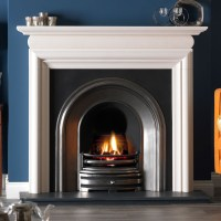 Gallery Asquith Limestone Fireplace with Crown Cast Iron ...