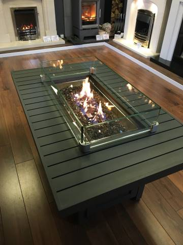 Napoleon  Hamptons Rectangle Outdoor Fire Table  Stoke Gas  Electric Fireplace Centre