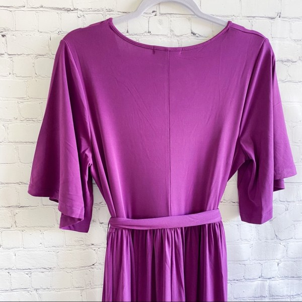 Roaman's purple belted knit maxi dress size 12