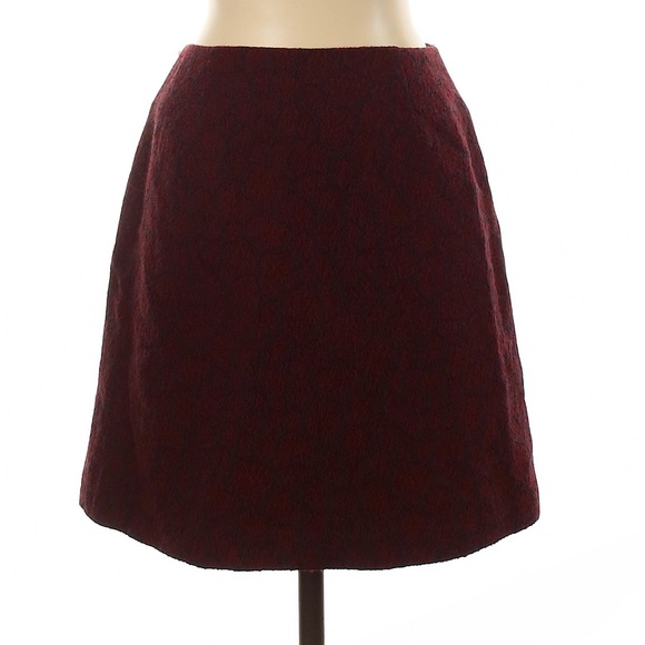 Cache red & burgundy wool blend pencil skirt size 2