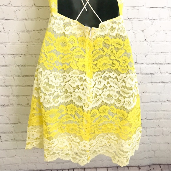 Anthropologie Foxiedox 'Mona' yellow contrast lace dress size small