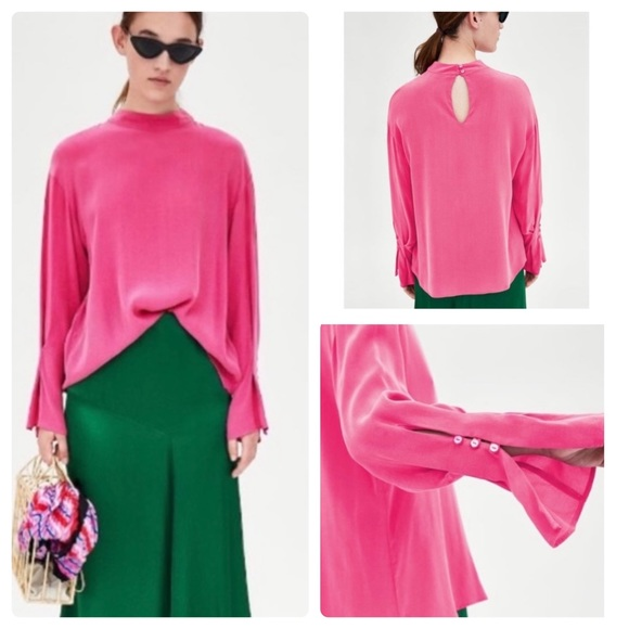 Zara TRF collection hot pink bell sleeve top Small
