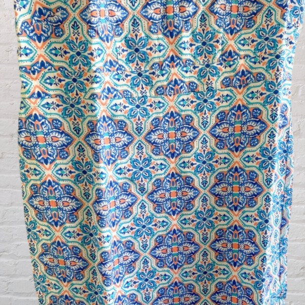 Jessica London Blue & Orange geometric print linen blend sheath dress size 12W