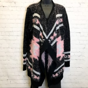 BCBGMAXAZRIA pink, black & metallic silver shaggy cardigan sweater small