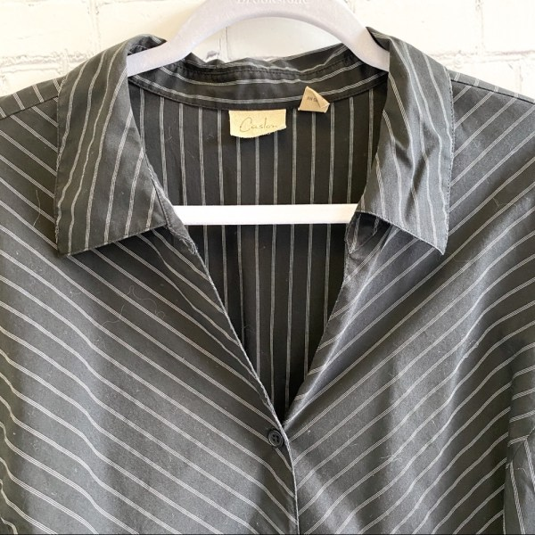 Caslon black & white pinstripe modern fit button down shirt plus size 3X