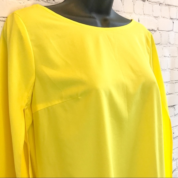 Juliet Roses Yellow long bell sleeve shift dress size Small