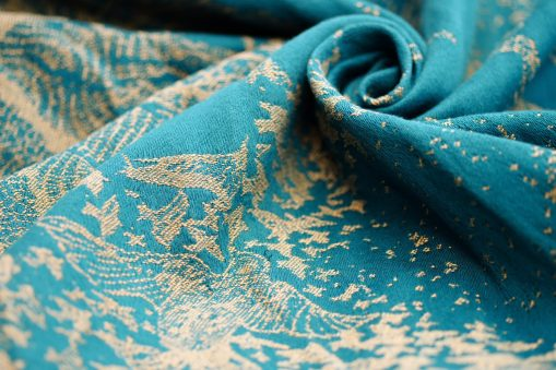 teal and gold linen blend woven wrap with birds design
