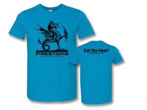 Firesticks – Eat the Heat Logo T-Shirt – Sapphire
