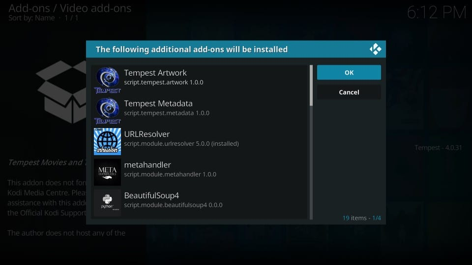 how to get tempest kodi addon