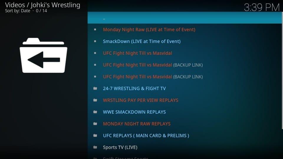 streaming with johki's wrestling kodi addon