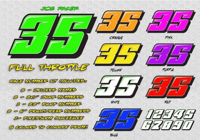 The Full Throttle Race Car Number Decal Kit Racing Graphics Lettering