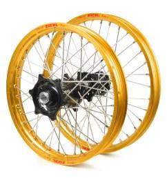 honda cr500 1995 2001 wheel set gold excel snr mx rims black talon hubs 21 19x2 15 [ 1000 x 1000 Pixel ]