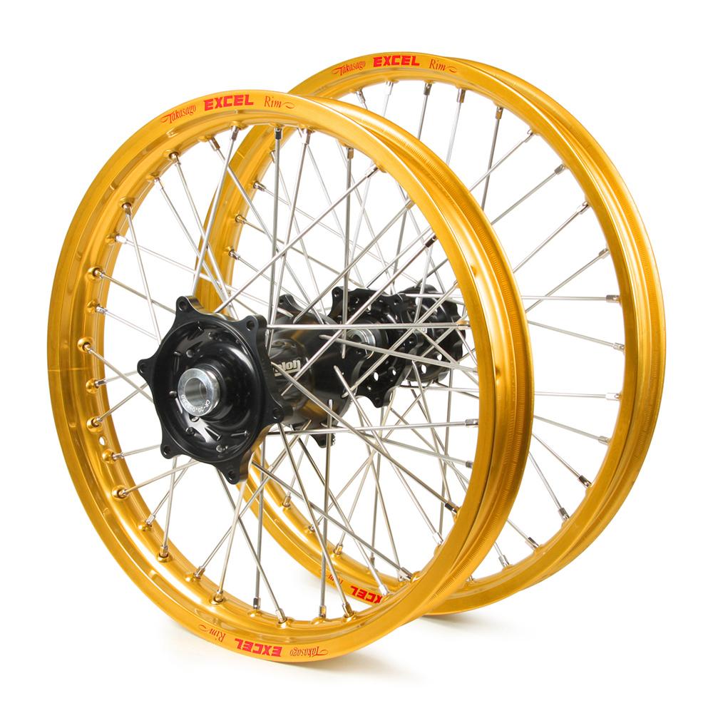 hight resolution of honda cr500 1995 2001 wheel set gold excel snr mx rims black talon hubs 21 19x2 15