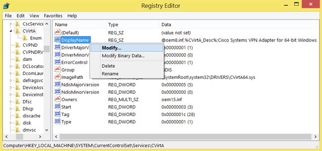Cisco vpn client windows 8 registry