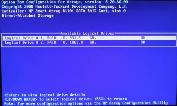 Linux CentOS  Redhat EL Installation on HP Smart Array B110i SATA RAID Controller  HP MLDL