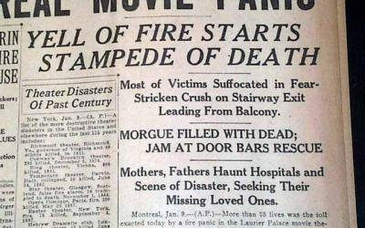 January in fire history – Laurier Palace theatre fire
