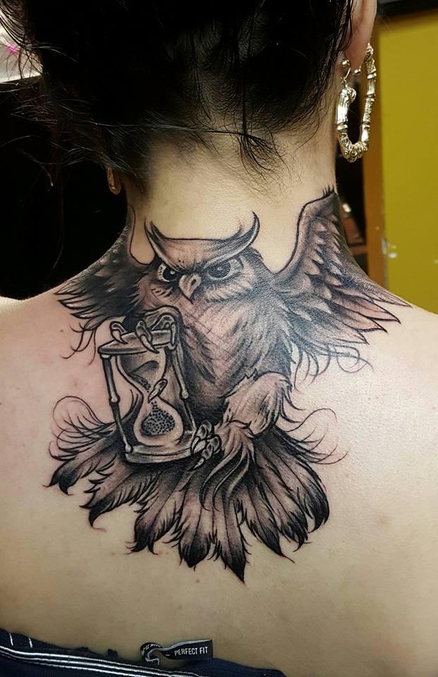 Back Owl Custom Tattoo - Firme Copias