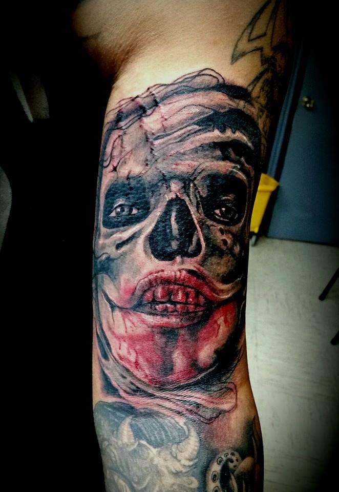 Skull Sleeve Custom Tattoo - Firme Copias