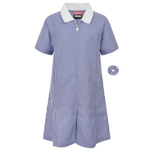 Navy Blue Gingham Dress