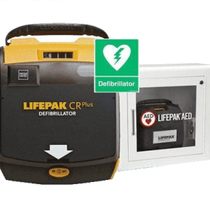 Lifepak cr plus AED and cabinet