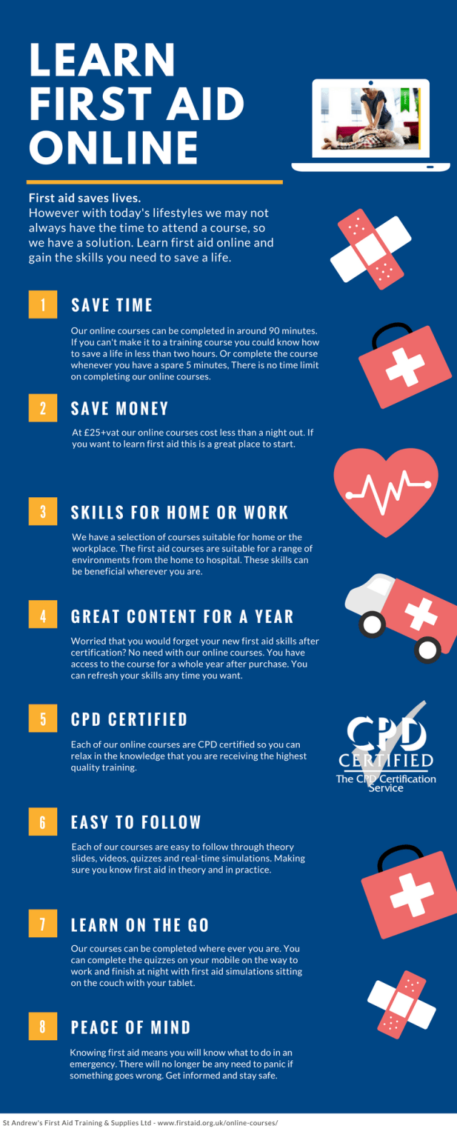 Learn First Aid Online Infograph - Benefits of First Aid Online Courses