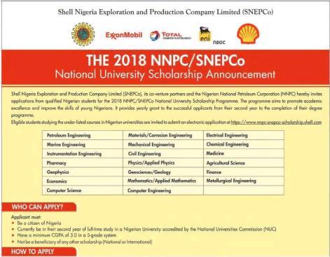 NNPC/SNEPCo Scholarship 2018