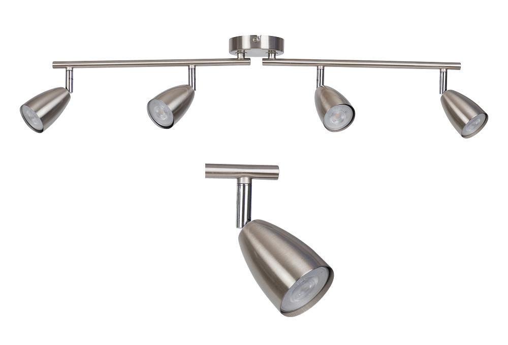 Modern Silver Brushed Chrome 4 Way Spotlight Bar Kitchen