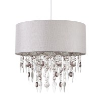 Modern Easy Fit Drum Shade Grey Fabric Ceiling Pendant ...
