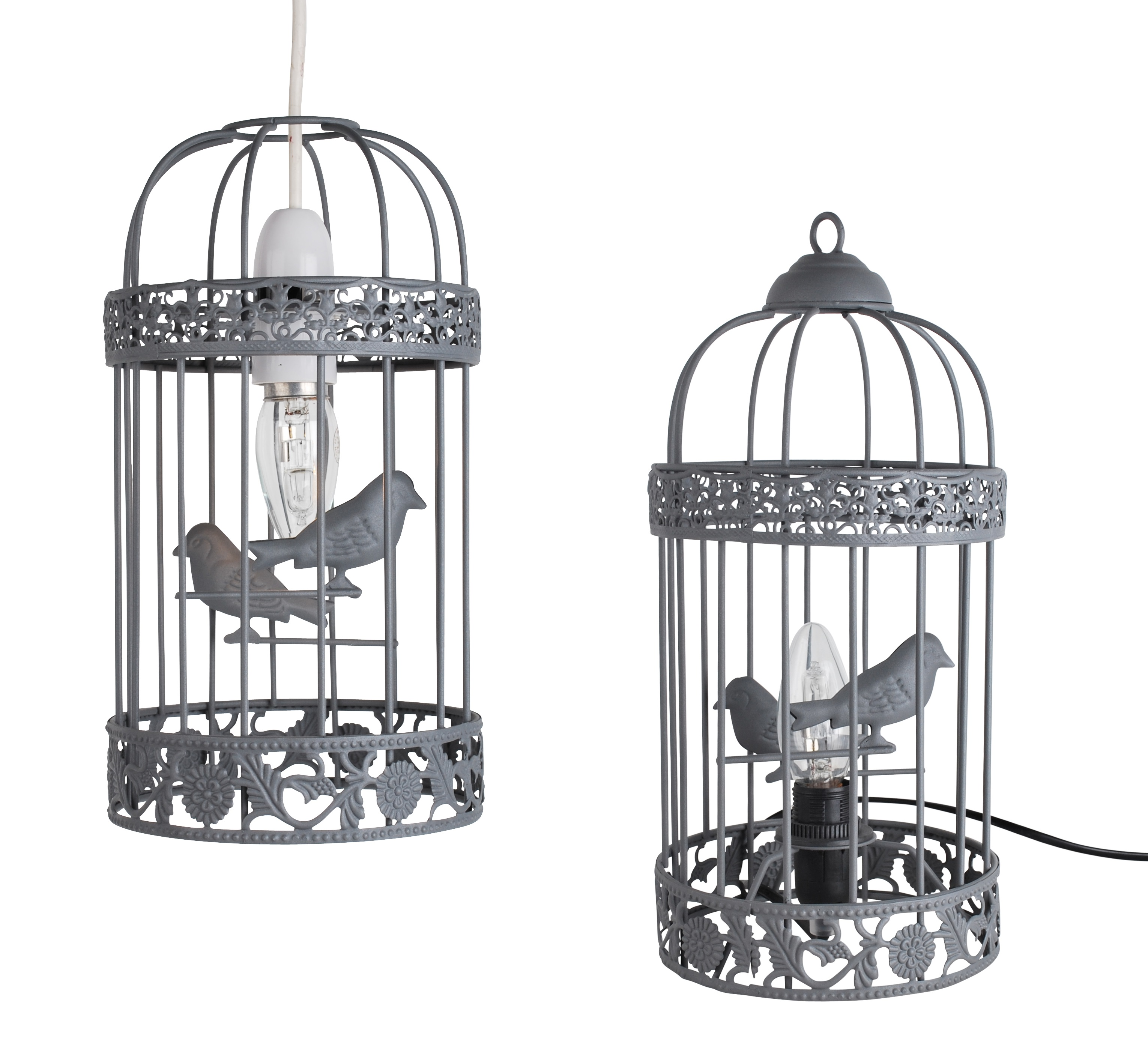 Shabby Chic Grey Birdcage Table Lamp Easy Fit Ceiling