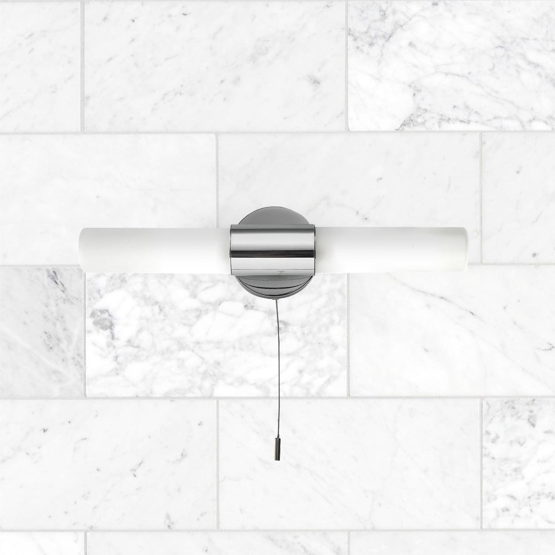Polished Chrome 2 X 20w G9 Bathroom Wall Light With Pull