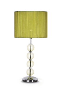 New Chrome and Glass Ball Base Table Lamp with Green Shade