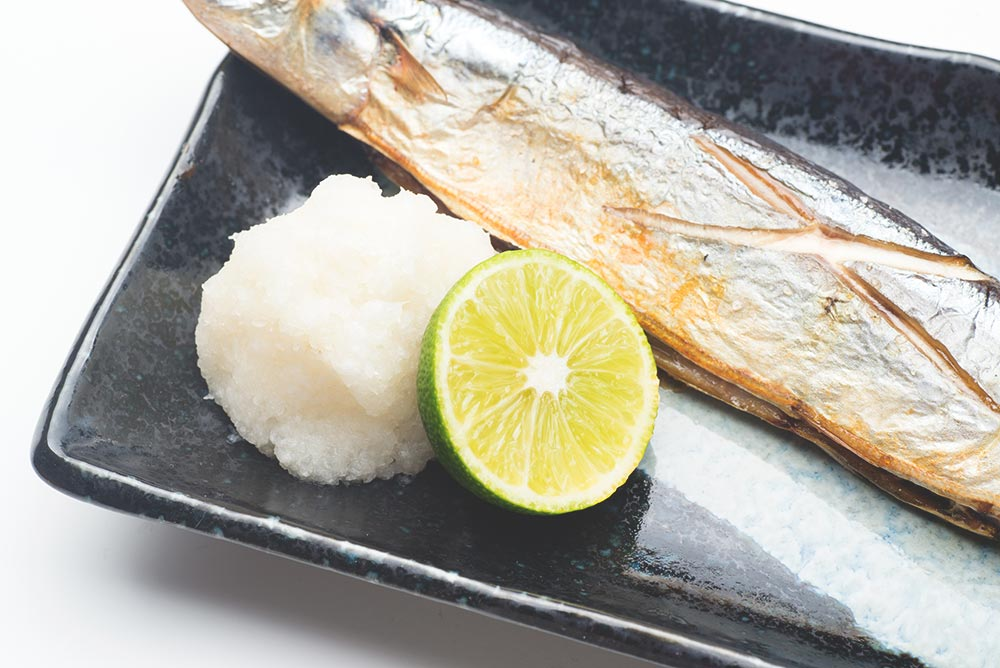 Sudachi limes with a fish dish