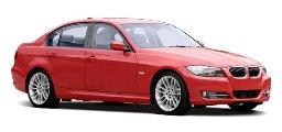red BMW 4 door sedan