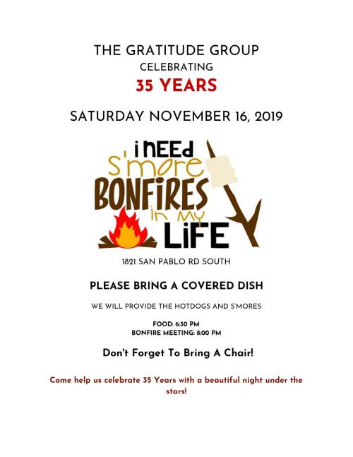 The Gratitude Group 35th Anniversary Bonfire Meeting