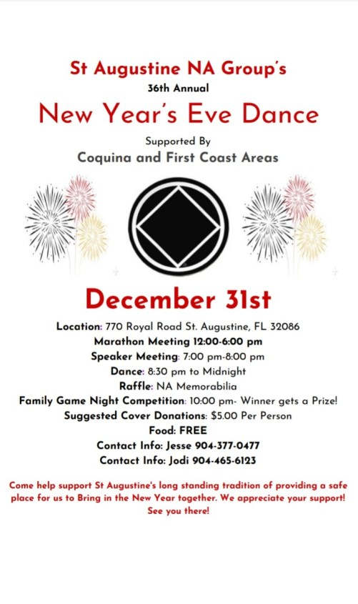 St Augustine NA Group's 36th Annual New Year's Eve Dance @ St. Augustine | Florida | United States