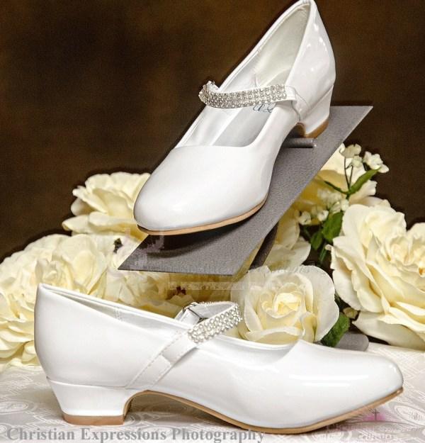 Girls Communion Shoes Rhinestone Strap Side