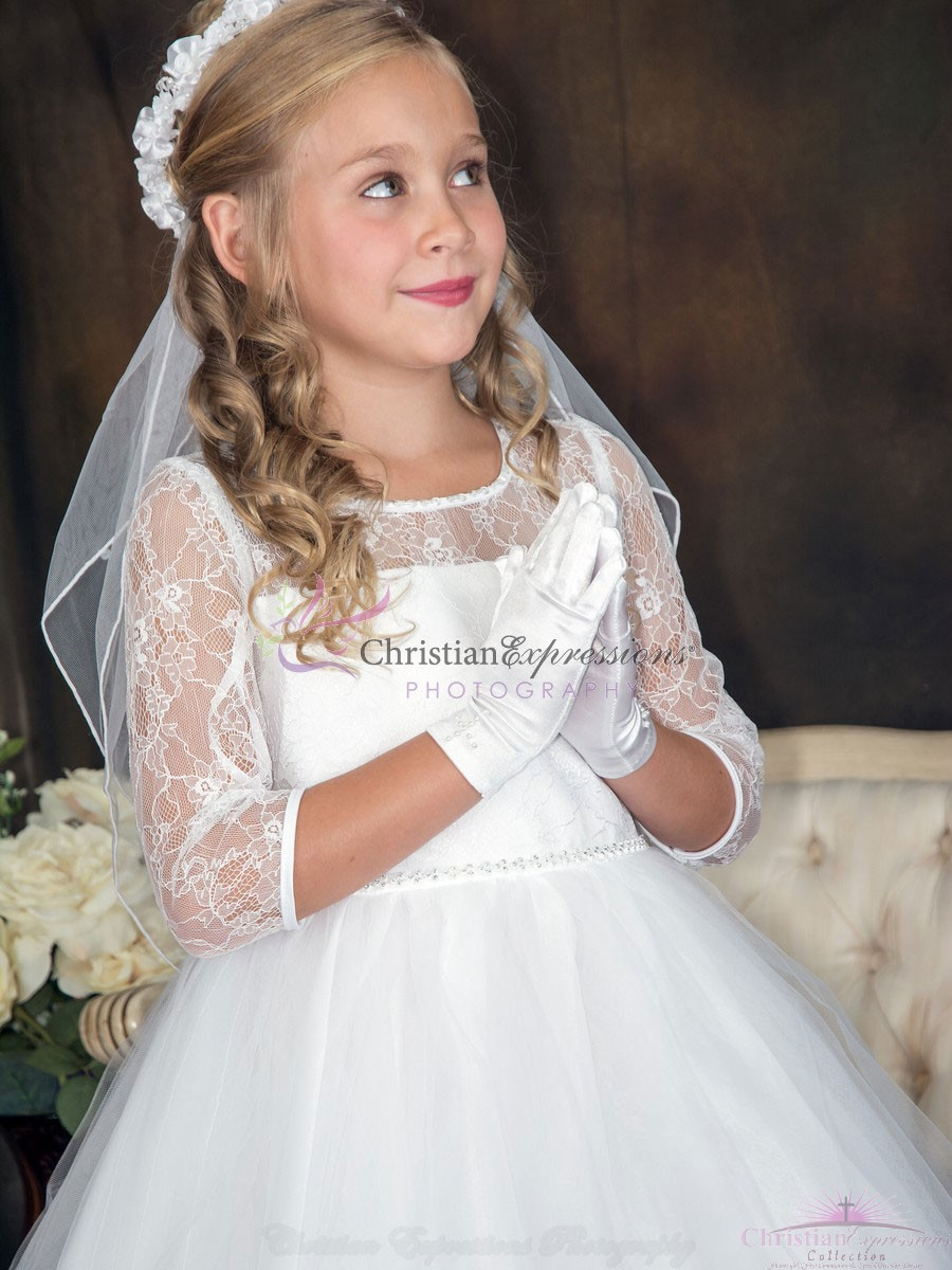Lace First Communion Dresses with Sleeves  Classy Firsts