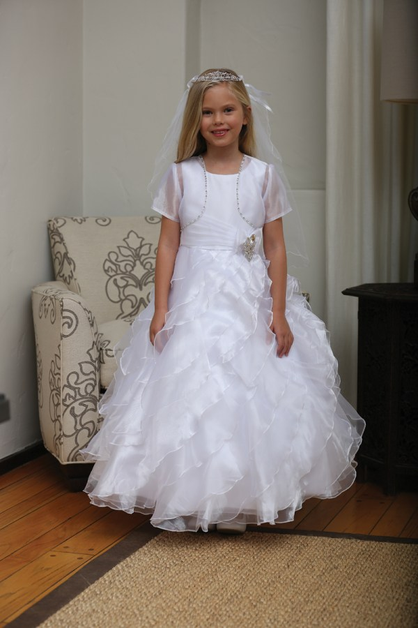 Floor Length Communion Dresses With Ruffles