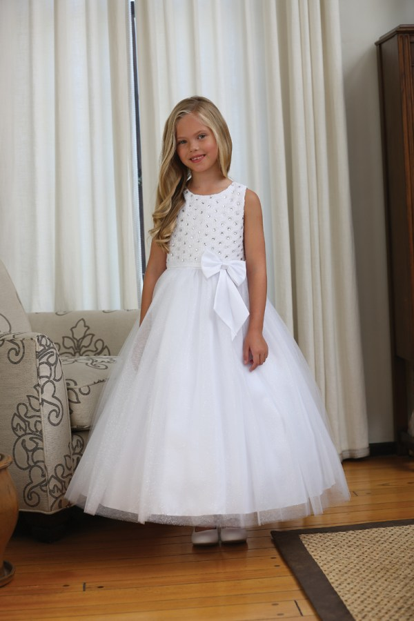 Beaded Lace Communion Dress With Sparkle Skirt