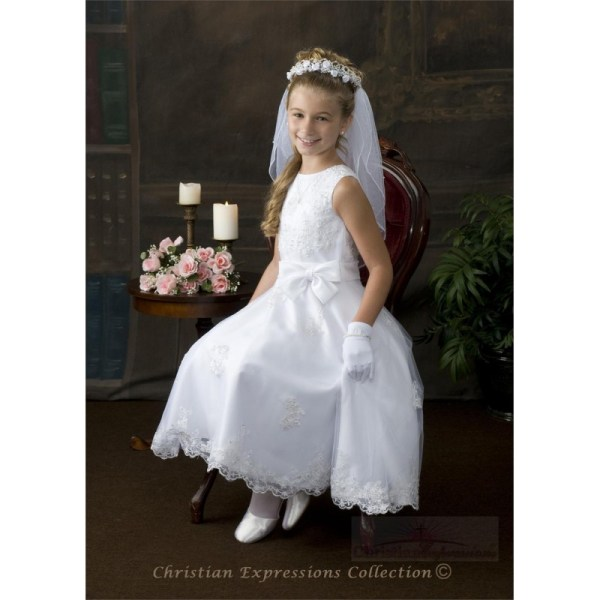Beaded Organza Communion Dress With Satin Bow