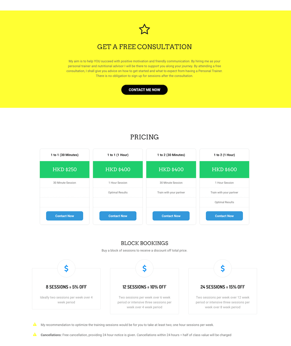MAD Training + Nutrition Pricing Screenshot - First Days Digital Portfolio