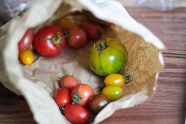Organic tomato selection.