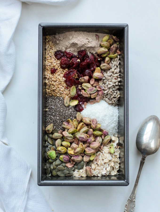 Gluten free seed loaf with cranberries and pistachios