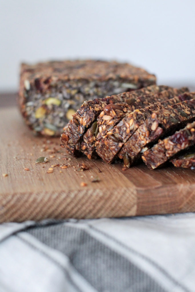 Sliced Gluten free seed loaf with cranberries and pistachios