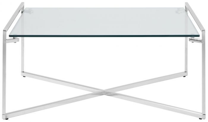 corin glass top with silver frame square coffee table