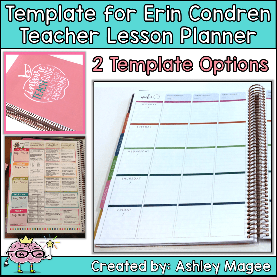 photograph relating to Free Printable Teacher Planner titled Erin Condren Trainer Planner Lesson Program Template