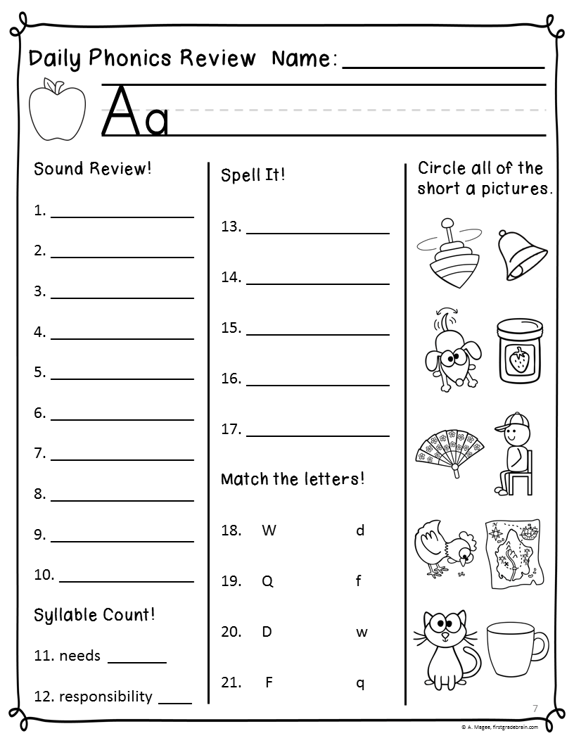 Daily Phonics Review Sheets (Works with or without Scott