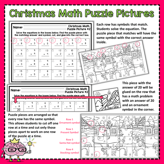 Christmas Math Puzzle Picture
