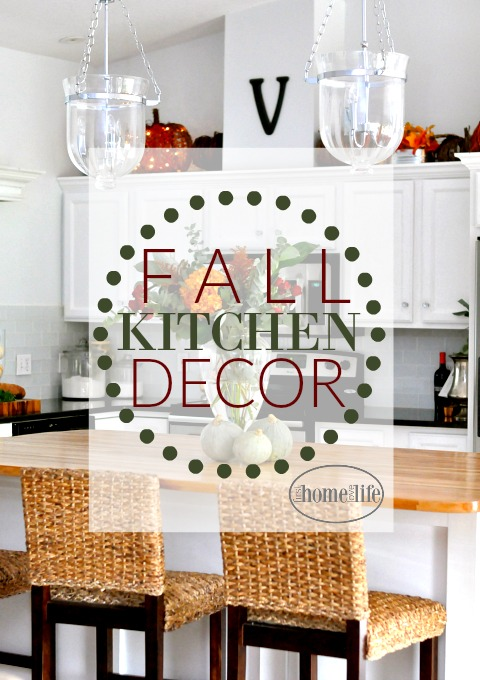 fall kitchen decor white trash can decorating first home love life via firsthomelovelife com